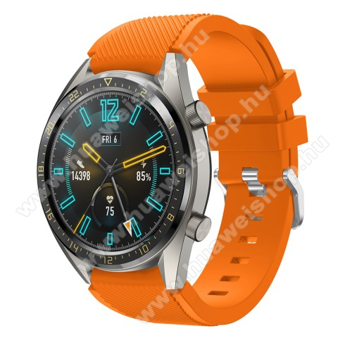 Okosóra szíj - szilikon, Twill mintás - NARANCS - 125mm + 85mm hosszú, 22mm széles - HUAWEI Watch GT / HUAWEI Watch 2 Pro / Honor Watch Magic / HUAWEI Watch GT 2 46mm