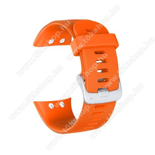 Okosóra szíj - szilikon, Twill mintás - NARANCSSÁRGA - 115mm+85mm hosszú, 150mm-től 210mm-es méretű csuklóig ajánlott - Garmin Forerunner 45 / Garmin Forerunner 45S