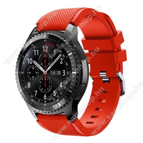 SAMSUNG SM-R760 Gear S3 FrontierOkosóra szíj - szilikon, Twill mintás - PIROS - 140mm-től 215mm-es méretű csuklóig ajánlott, 105mm + 92mm hosszú, 22mm széles - SAMSUNG Galaxy Watch 46mm / SAMSUNG Gear S3 Classic / SAMSUNG Gear S3 Frontier