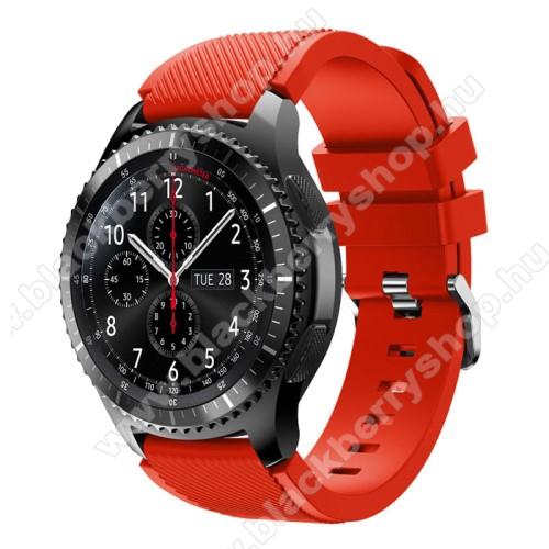 Okosóra szíj - szilikon, Twill mintás - PIROS - 140mm-től 215mm-es méretű csuklóig ajánlott, 105mm + 92mm hosszú, 22mm széles - SAMSUNG Galaxy Watch 46mm / SAMSUNG Gear S3 Classic / SAMSUNG Gear S3 Frontier