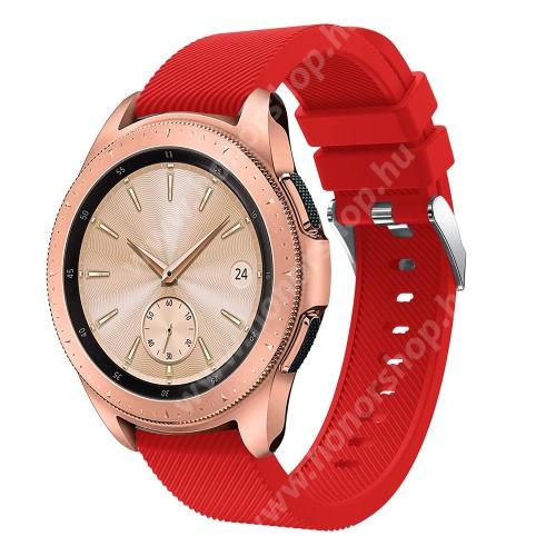 HUAWEI Honor MagicWatch 2 42mm Okosóra szíj - szilikon, Twill mintás - PIROS - 102mm + 80mm hosszú, 20mm széles, max 225mm-es csuklóra - SAMSUNG Galaxy Watch 42mm / Xiaomi Amazfit GTS / SAMSUNG Gear S2 / HUAWEI Watch GT 2 42mm / Galaxy Watch Active / Active 2