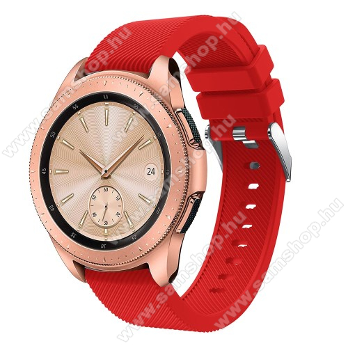 SAMSUNG SM-R720 Gear S2 ClassicOkosóra szíj - szilikon, Twill mintás - PIROS - 102mm + 80mm hosszú, 20mm széles, max 225mm-es csuklóra - SAMSUNG Galaxy Watch 42mm / Xiaomi Amazfit GTS / SAMSUNG Gear S2 / HUAWEI Watch GT 2 42mm / Galaxy Watch Active / Active 2