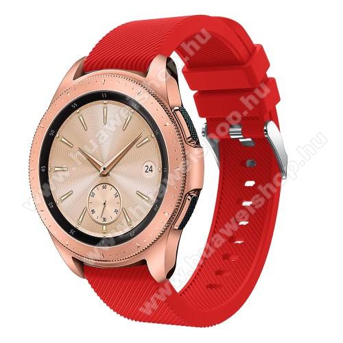 HUAWEI Watch GT 2 42mmOkosóra szíj - szilikon, Twill mintás - PIROS - 102mm + 80mm hosszú, 18mm széles, max 225mm-es csuklóra - SAMSUNG Galaxy Watch 42mm / HUAWEI Watch GT 2 42mm