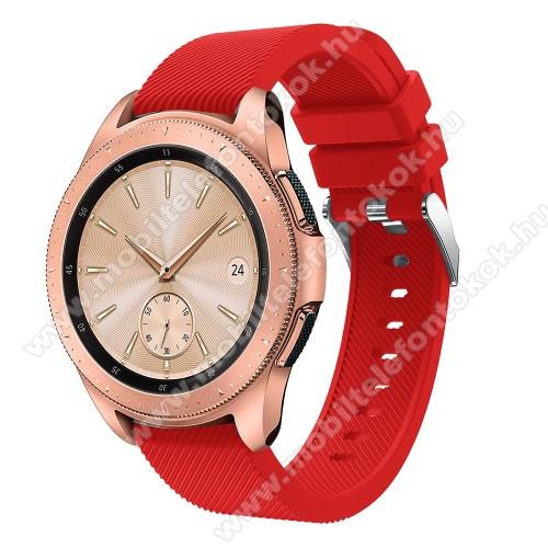 Okosóra szíj - szilikon, Twill mintás - PIROS - 102mm + 80mm hosszú, 20mm széles, max 225mm-es csuklóra - SAMSUNG Galaxy Watch 42mm / Xiaomi Amazfit GTS / SAMSUNG Gear S2 / HUAWEI Watch GT 2 42mm / Galaxy Watch Active / Active 2