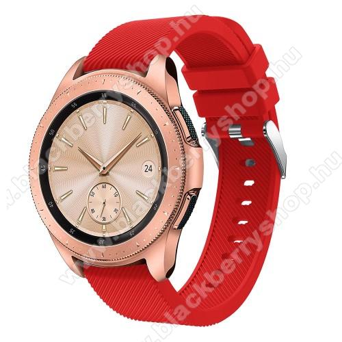 Okosóra szíj - szilikon, Twill mintás - PIROS - 102mm + 80mm hosszú, 20mm széles, max 225mm-es csuklóra - SAMSUNG Galaxy Watch 42mm / Xiaomi Amazfit GTS / HUAWEI Watch GT / SAMSUNG Gear S2 / HUAWEI Watch GT 2 42mm / Galaxy Watch Active / Active  2 / Galax