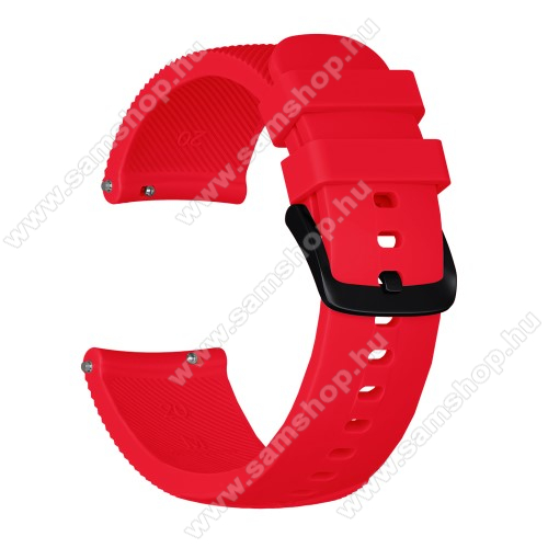 SAMSUNG SM-R600 Galaxy Gear SportOkosóra szíj - szilikon, Twill mintás - PIROS - S-es méret, 92mm + 80mm hosszú, 20mm széles - SAMSUNG Galaxy Watch 42mm / Xiaomi Amazfit GTS / HUAWEI Watch GT / SAMSUNG Gear S2 / HUAWEI Watch GT 2 42mm / Galaxy Watch Active / Active  2 / Galaxy Gear Sport