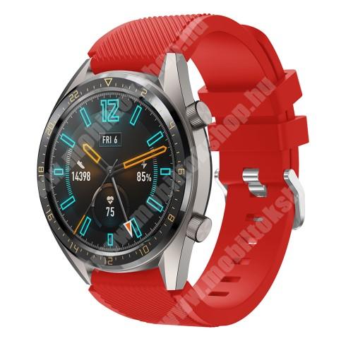 Okosóra szíj - szilikon, Twill mintás - PIROS - HUAWEI Watch GT / HUAWEI Honor Watch Magic / HUAWEI Watch 2 Pro