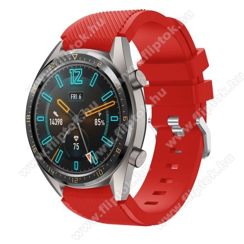 ZTE Watch GTOkosóra szíj - szilikon, Twill mintás - PIROS - 93mm + 105mm hosszú, 22mm széles - HUAWEI Watch GT / HUAWEI Watch 2 Pro / Honor Watch Magic / HUAWEI Watch GT 2 46mm