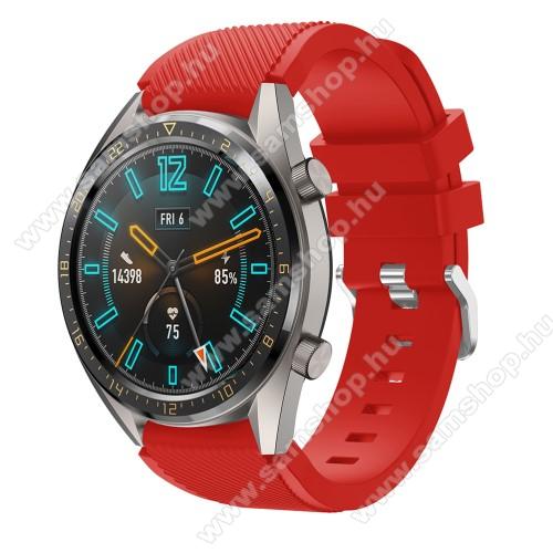 SAMSUNG Galaxy Watch3 45mm (SM-R845F)Okosóra szíj - szilikon, Twill mintás - PIROS - 93mm + 105mm hosszú, 22mm széles - HUAWEI Watch GT / HUAWEI Watch 2 Pro / Honor Watch Magic / HUAWEI Watch GT 2 46mm