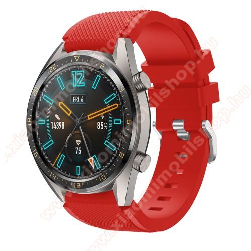 Xiaomi Amazfit GTR 2 47mmOkosóra szíj - szilikon, Twill mintás - PIROS - 93mm + 105mm hosszú, 22mm széles - HUAWEI Watch GT / HUAWEI Watch 2 Pro / Honor Watch Magic / HUAWEI Watch GT 2 46mm