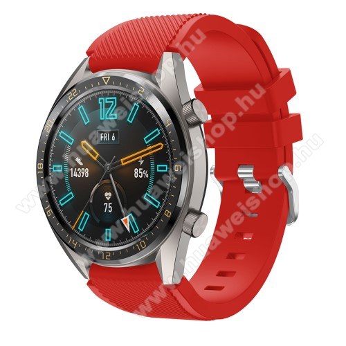 HUAWEI Watch MagicOkosóra szíj - szilikon, Twill mintás - PIROS - 93mm + 105mm hosszú, 22mm széles - HUAWEI Watch GT / HUAWEI Watch 2 Pro / Honor Watch Magic / HUAWEI Watch GT 2 46mm
