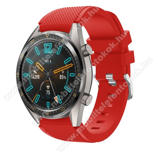 Okosóra szíj - szilikon, Twill mintás - PIROS - 93mm + 105mm hosszú, 22mm széles - HUAWEI Watch GT / HUAWEI Watch 2 Pro / Honor Watch Magic / HUAWEI Watch GT 2 46mm