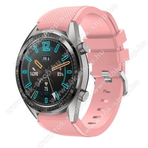 HUAWEI Honor MagicWatch 2 46mmOkosóra szíj - szilikon, Twill mintás - RÓZSASZÍN - 93mm + 105mm hosszú, 22mm széles - HUAWEI Watch GT / HUAWEI Watch 2 Pro / Honor Watch Magic / HUAWEI Watch GT 2 46mm