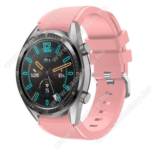 SAMSUNG Galaxy Watch3 45mm (SM-R845F)Okosóra szíj - szilikon, Twill mintás - RÓZSASZÍN - 93mm + 105mm hosszú, 22mm széles - HUAWEI Watch GT / HUAWEI Watch 2 Pro / Honor Watch Magic / HUAWEI Watch GT 2 46mm