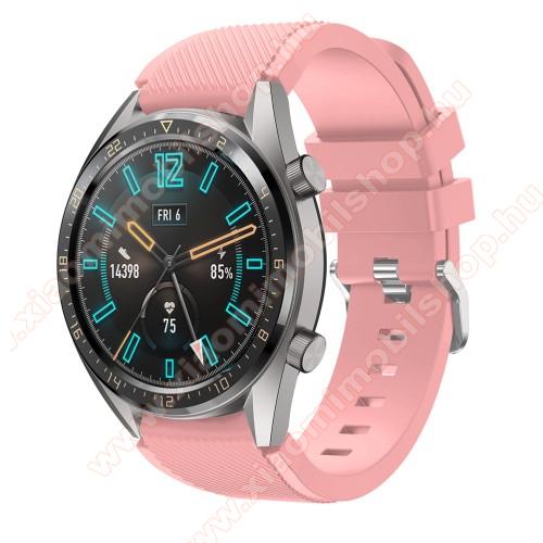 Xiaomi Amazfit 2Okosóra szíj - szilikon, Twill mintás - RÓZSASZÍN - 93mm + 105mm hosszú, 22mm széles - HUAWEI Watch GT / HUAWEI Watch 2 Pro / Honor Watch Magic / HUAWEI Watch GT 2 46mm