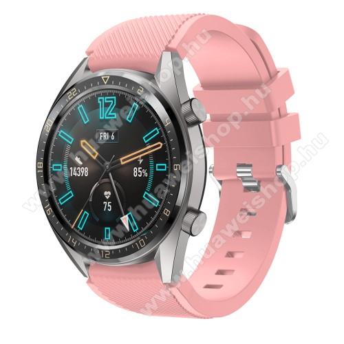 HUAWEI Watch MagicOkosóra szíj - szilikon, Twill mintás - RÓZSASZÍN - 93mm + 105mm hosszú, 20mm széles - HUAWEI Watch GT / HUAWEI Watch 2 Pro / Honor Watch Magic / HUAWEI Watch GT 2 46mm