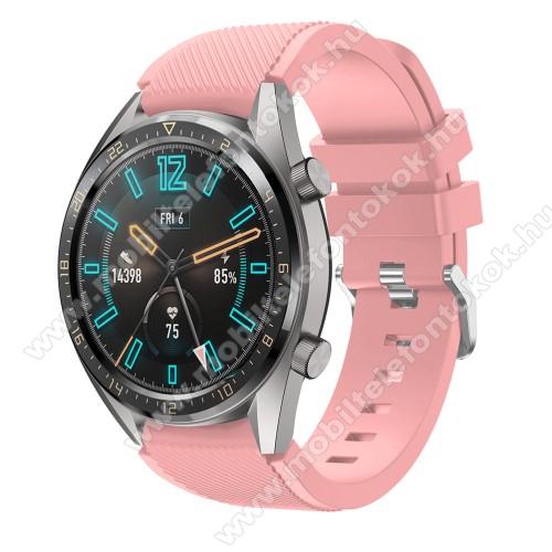 Okosóra szíj - szilikon, Twill mintás - RÓZSASZÍN - 93mm + 105mm hosszú, 22mm széles - HUAWEI Watch GT / HUAWEI Watch 2 Pro / Honor Watch Magic / HUAWEI Watch GT 2 46mm