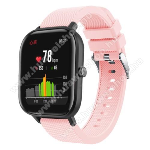 HUAWEI Honor MagicWatch 2 42mmOkosóra szíj - szilikon, Twill mintás - RÓZSASZÍN - 20mm széles, 130mm+95mm hosszú, 170-225mm átmérőjű csuklóméretig - SAMSUNG Galaxy Watch 42mm / Xiaomi Amazfit GTS / SAMSUNG Gear S2 / HUAWEI Watch GT 2 42mm / Galaxy Watch Active / Active 2
