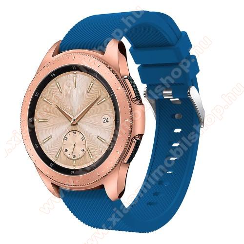Okosóra szíj - szilikon, Twill mintás - SÖTÉTKÉK - 102mm + 80mm hosszú, 20mm széles, max 225mm-es csuklóra - SAMSUNG Galaxy Watch 42mm / Xiaomi Amazfit GTS / SAMSUNG Gear S2 / HUAWEI Watch GT 2 42mm / Galaxy Watch Active / Active 2