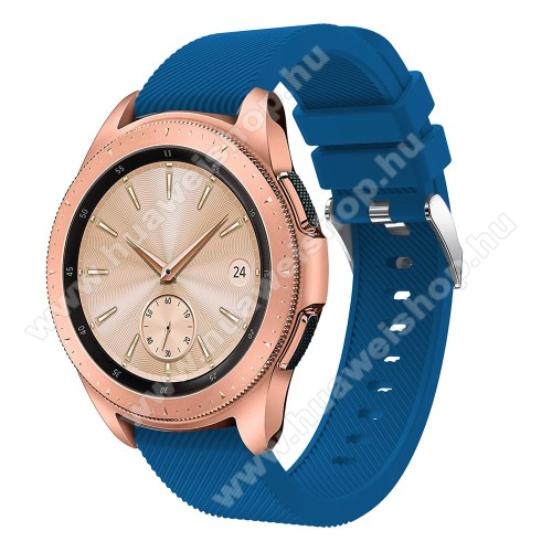 HUAWEI Watch GT 2 42mmOkosóra szíj - szilikon, Twill mintás - SÖTÉTKÉK - 102mm + 80mm hosszú, 18mm széles, max 225mm-es csuklóra - SAMSUNG Galaxy Watch 42mm / HUAWEI Watch GT 2 42mm