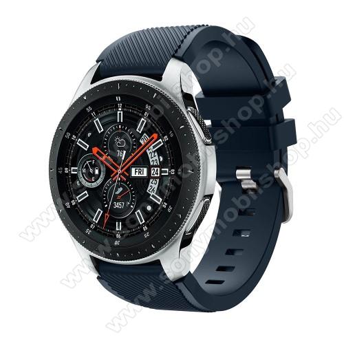 Okosóra szíj - szilikon, Twill mintás - SÖTÉTKÉK - 125mm + 98mm hosszú, 22mm széles, max 215mm-es csuklóra - SAMSUNG Galaxy Watch 46mm / SAMSUNG Gear S3 Classic / SAMSUNG Gear S3 Frontier
