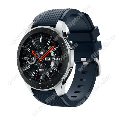 ZTE Watch GTOkosóra szíj - szilikon, Twill mintás - SÖTÉTKÉK - 103mm + 92mm hosszú, 22mm széles, max 215mm-es csuklóra - SAMSUNG Galaxy Watch 46mm / SAMSUNG Gear S3 Classic / SAMSUNG Gear S3 Frontier