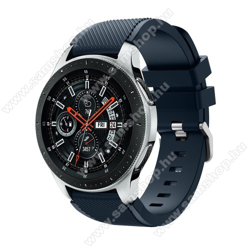 SAMSUNG Galaxy Watch3 45mm (SM-R845F)Okosóra szíj - szilikon, Twill mintás - SÖTÉTKÉK - 103mm + 92mm hosszú, 22mm széles, max 215mm-es csuklóra - SAMSUNG Galaxy Watch 46mm / SAMSUNG Gear S3 Classic / SAMSUNG Gear S3 Frontier