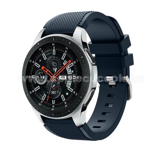 Okos�ra sz�j - szilikon, Twill mint�s - S�T�TK�K - 125mm + 98mm hossz�, 22mm sz�les, max 215mm-es csukl�ra - SAMSUNG Galaxy Watch 46mm / SAMSUNG Gear S3 Classic / SAMSUNG Gear S3 Frontier