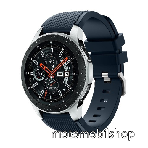 Okosóra szíj - szilikon, Twill mintás - SÖTÉTKÉK - 103mm + 92mm hosszú, 22mm széles, max 215mm-es csuklóra - SAMSUNG Galaxy Watch 46mm / SAMSUNG Gear S3 Classic / SAMSUNG Gear S3 Frontier