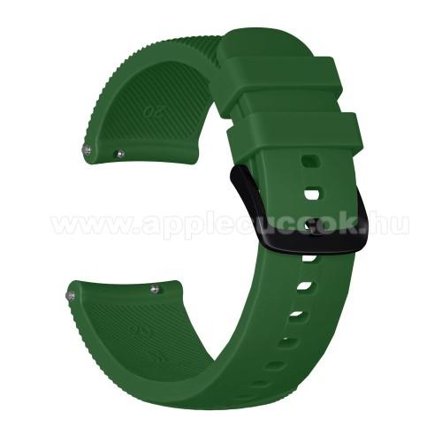 Okosóra szíj - szilikon, Twill mintás - SÖTÉTZÖLD - S-es méret, 92mm + 80mm hosszú, 20mm széles - SAMSUNG Galaxy Watch 42mm / Xiaomi Amazfit GTS / HUAWEI Watch GT / SAMSUNG Gear S2 / HUAWEI Watch GT 2 42mm / Galaxy Watch Active / Active  2 / Galaxy Gear S