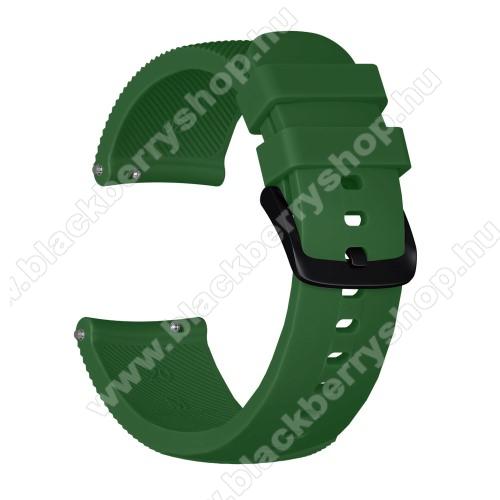 Okosóra szíj - szilikon, Twill mintás - SÖTÉTZÖLD - S-es méret, 92mm + 80mm hosszú, 20mm széles - SAMSUNG Galaxy Watch 42mm / Xiaomi Amazfit GTS / SAMSUNG Gear S2 / HUAWEI Watch GT 2 42mm / Galaxy Watch Active / Active 2