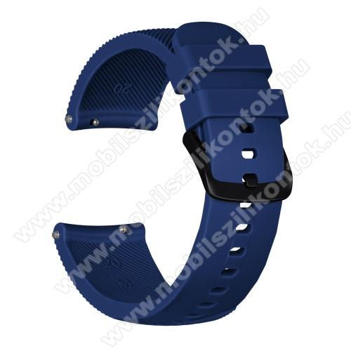 Okosóra szíj - szilikon, Twill mintás - SÖTÉTKÉK - S-es méret, 92mm + 80mm hosszú, 20mm széles - SAMSUNG Galaxy Watch 42mm / Xiaomi Amazfit GTS / HUAWEI Watch GT / SAMSUNG Gear S2 / HUAWEI Watch GT 2 42mm / Galaxy Watch Active / Active  2 / Galaxy Gear Sp