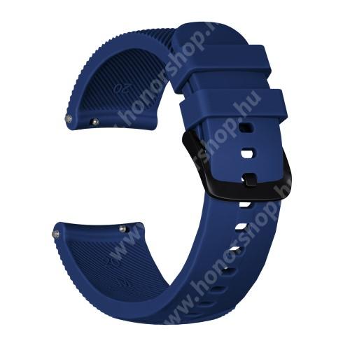 Okosóra szíj - szilikon, Twill mintás - SÖTÉTKÉK - S-es méret, 92mm + 80mm hosszú, 20mm széles - SAMSUNG Galaxy Watch 42mm / Xiaomi Amazfit GTS / SAMSUNG Gear S2 / HUAWEI Watch GT 2 42mm / Galaxy Watch Active / Active 2