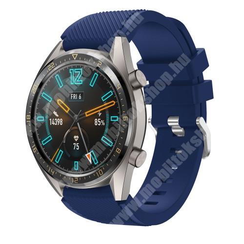 Okosóra szíj - szilikon, Twill mintás - SÖTÉTKÉK - HUAWEI Watch GT / HUAWEI Honor Watch Magic / HUAWEI Watch 2 Pro