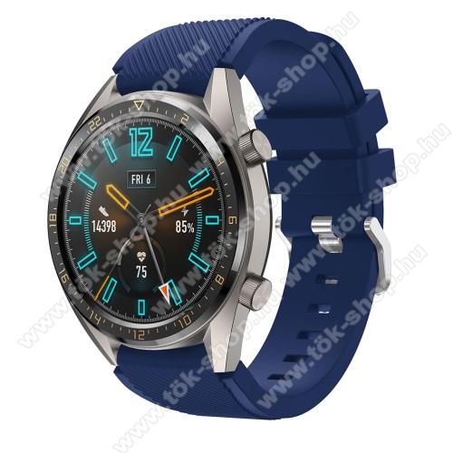 Okosóra szíj - szilikon, Twill mintás - SÖTÉTKÉK - 93mm + 105mm hosszú, 22mm széles - HUAWEI Watch GT / HUAWEI Watch 2 Pro / Honor Watch Magic / HUAWEI Watch GT 2 46mm