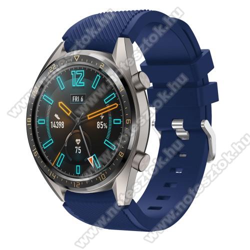 ZTE Watch GTOkosóra szíj - szilikon, Twill mintás - SÖTÉTKÉK - 93mm + 105mm hosszú, 22mm széles - HUAWEI Watch GT / HUAWEI Watch 2 Pro / Honor Watch Magic / HUAWEI Watch GT 2 46mm