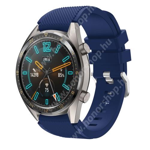 HUAWEI Watch GT 46mm Okosóra szíj - szilikon, Twill mintás - SÖTÉTKÉK - 93mm + 105mm hosszú, 22mm széles - HUAWEI Watch GT / HUAWEI Watch 2 Pro / Honor Watch Magic / HUAWEI Watch GT 2 46mm