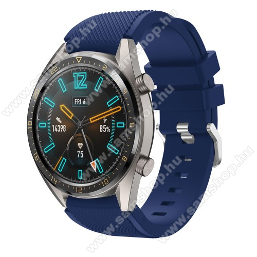 SAMSUNG SM-R760 Gear S3 Frontier Okosóra szíj - szilikon, Twill mintás - SÖTÉTKÉK - 93mm + 105mm hosszú, 22mm széles - HUAWEI Watch GT / HUAWEI Watch 2 Pro / Honor Watch Magic / HUAWEI Watch GT 2 46mm