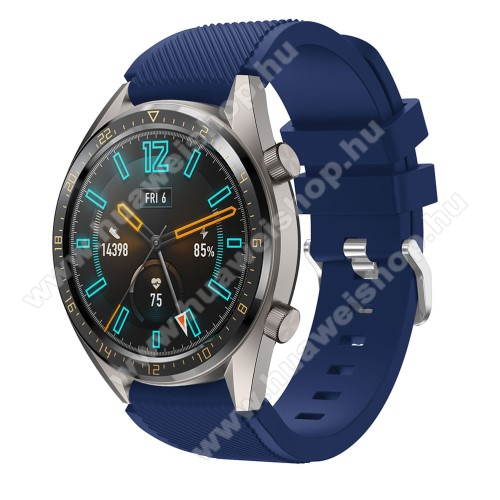 HUAWEI Watch GT 2 46mm Okosóra szíj - szilikon, Twill mintás - SÖTÉTKÉK - 93mm + 105mm hosszú, 20mm széles - HUAWEI Watch GT / HUAWEI Watch 2 Pro / Honor Watch Magic / HUAWEI Watch GT 2 46mm
