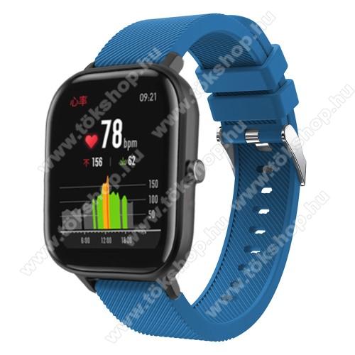 Okosóra szíj - szilikon, Twill mintás - SÖTÉTKÉK - 20mm széles, 130mm+95mm hosszú, 170-225mm átmérőjű csuklóméretig - SAMSUNG Galaxy Watch 42mm / Xiaomi Amazfit GTS / SAMSUNG Gear S2 / HUAWEI Watch GT 2 42mm / Galaxy Watch Active / Active 2