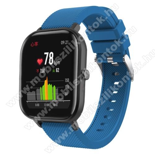 Okosóra szíj - szilikon, Twill mintás - SÖTÉTKÉK - 20mm széles, 130mm+95mm hosszú, 170-225mm átmérőjű csuklóméretig - SAMSUNG Galaxy Watch 42mm / Xiaomi Amazfit GTS / HUAWEI Watch GT / SAMSUNG Gear S2 / HUAWEI Watch GT 2 42mm / Galaxy Watch Active / Activ