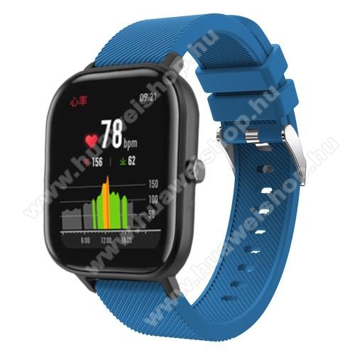HUAWEI Watch GT 2 42mmOkosóra szíj - szilikon, Twill mintás - SÖTÉTKÉK - 20mm széles, 130mm+95mm hosszú, 170-225mm átmérőjű csuklóméretig - SAMSUNG Galaxy Watch 42mm / Xiaomi Amazfit GTS / HUAWEI Watch GT / SAMSUNG Gear S2 / HUAWEI Watch GT 2 42mm / Galaxy Watch Active / Activ