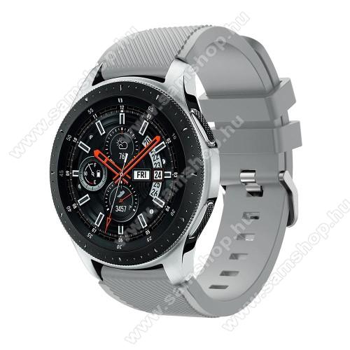 SAMSUNG SM-R770 Gear S3 ClassicOkosóra szíj - szilikon, Twill mintás - SZÜRKE  - 103mm + 92mm hosszú, 22mm széles, max 215mm-es csuklóra - SAMSUNG Galaxy Watch 46mm / SAMSUNG Gear S3 Classic / SAMSUNG Gear S3 Frontier