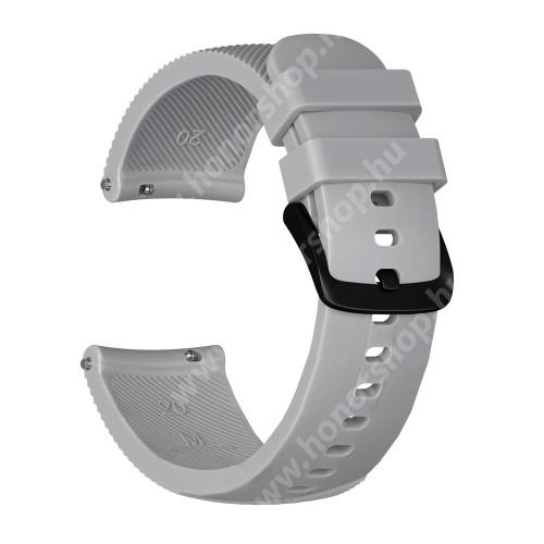 HUAWEI Honor MagicWatch 2 42mm Okosóra szíj - szilikon, Twill mintás - SZÜRKE - S-es méret, 92mm + 80mm hosszú, 20mm széles - SAMSUNG Galaxy Watch 42mm / Xiaomi Amazfit GTS / SAMSUNG Gear S2 / HUAWEI Watch GT 2 42mm / Galaxy Watch Active / Active 2