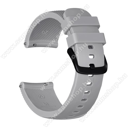 SAMSUNG Galaxy Watch 42mm (SM-R810NZ) Okosóra szíj - szilikon, Twill mintás - SZÜRKE - S-es méret, 92mm + 80mm hosszú, 20mm széles - SAMSUNG Galaxy Watch 42mm / Xiaomi Amazfit GTS / SAMSUNG Gear S2 / HUAWEI Watch GT 2 42mm / Galaxy Watch Active / Active 2