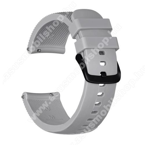 Okosóra szíj - szilikon, Twill mintás - SZÜRKE - S-es méret, 92mm + 80mm hosszú, 20mm széles - SAMSUNG Galaxy Watch 42mm / Xiaomi Amazfit GTS / HUAWEI Watch GT / SAMSUNG Gear S2 / HUAWEI Watch GT 2 42mm / Galaxy Watch Active / Active  2 / Galaxy Gear Spor