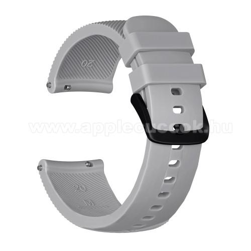 Okosóra szíj - szilikon, Twill mintás - SZÜRKE - S-es méret, 92mm + 80mm hosszú, 18mm széles - SAMSUNG SM-R500 Galaxy Watch Active / SAMSUNG Galaxy Watch Active2 40mm / SAMSUNG Galaxy Watch Active2 44mm