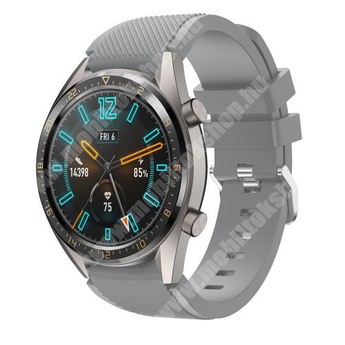 Okosóra szíj - szilikon, Twill mintás - SZÜRKE - HUAWEI Watch GT / HUAWEI Honor Watch Magic / HUAWEI Watch 2 Pro