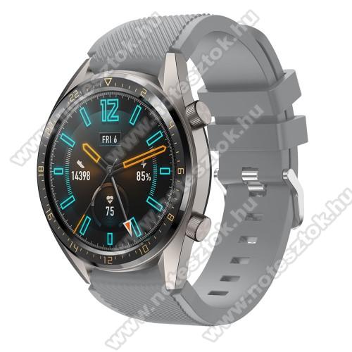 HUAWEI Honor MagicWatch 2 46mmOkosóra szíj - szilikon, Twill mintás - SZÜRKE - 93mm + 105mm hosszú, 22mm széles - HUAWEI Watch GT / HUAWEI Watch 2 Pro / Honor Watch Magic / HUAWEI Watch GT 2 46mm