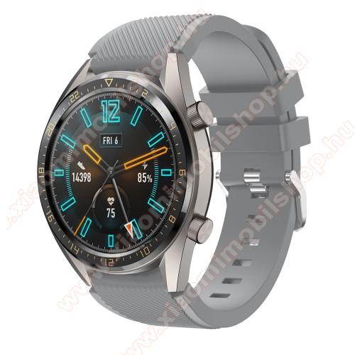 Xiaomi Amazfit GTR 47mmOkosóra szíj - szilikon, Twill mintás - SZÜRKE - 93mm + 105mm hosszú, 22mm széles - HUAWEI Watch GT / HUAWEI Watch 2 Pro / Honor Watch Magic / HUAWEI Watch GT 2 46mm